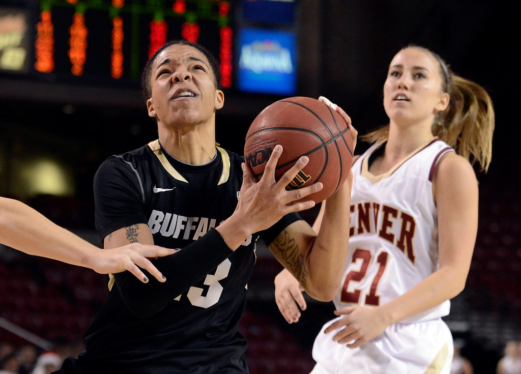 . University of Colorado\'s Chucky Jeffery drives to the hoop past Michaela Neuhaus during a games against the University of Denver on Tuesday, Dec. 11, at the Magnus Arena on the DU campus in Denver.  (Jeremy Papasso/Daily Camera)