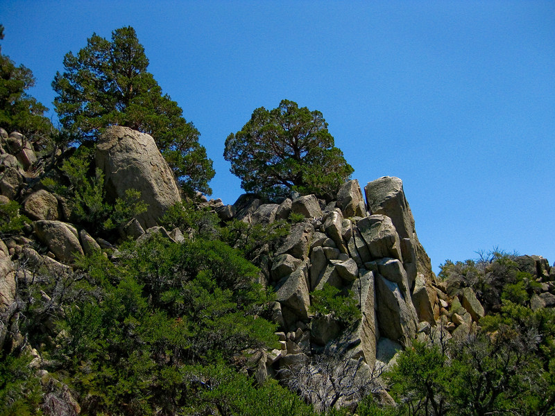 Great rock formations on the way down to the Gull Lake / June Lake area. See map Blue line