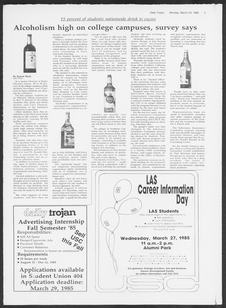 Daily Trojan, Vol. 98, No. 50, March 25, 1985