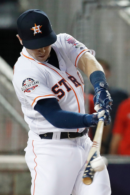 . Houston Astros Alex Bregman hits during the MLB Home Run Derby, at Nationals Park, Monday, July 16, 2018 in Washington. The 89th MLB baseball All-Star Game will be played Tuesday. (AP Photo/Alex Brandon)