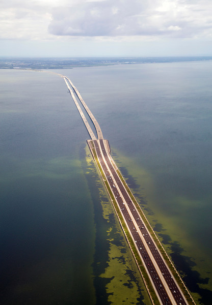 Our plane flies west, over the Howard Frankland Bridge.