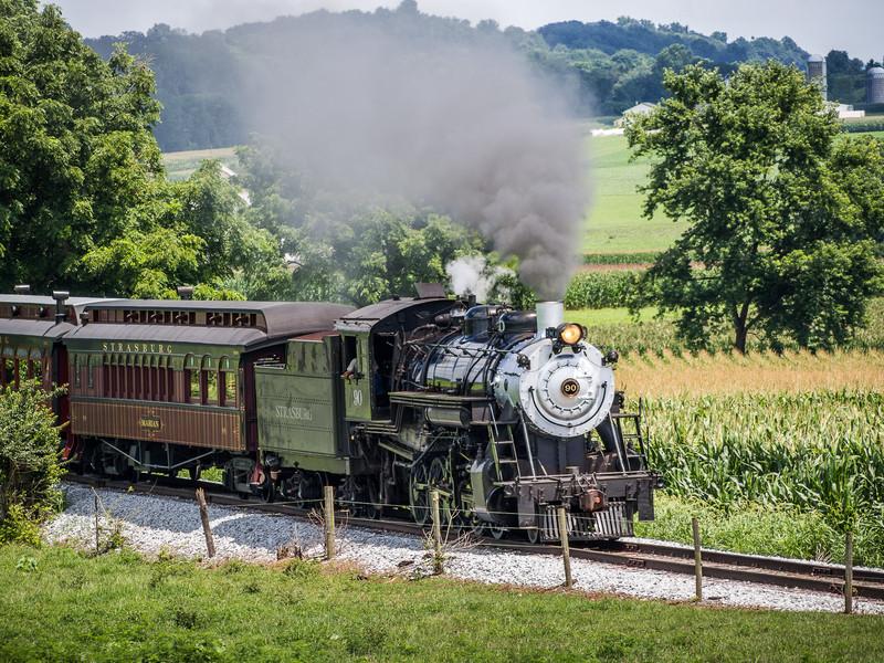 Steam Locomotive Pulling Tourist Train