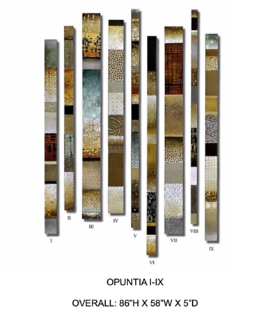 Opuntia I-IX by Hollack painting on wood