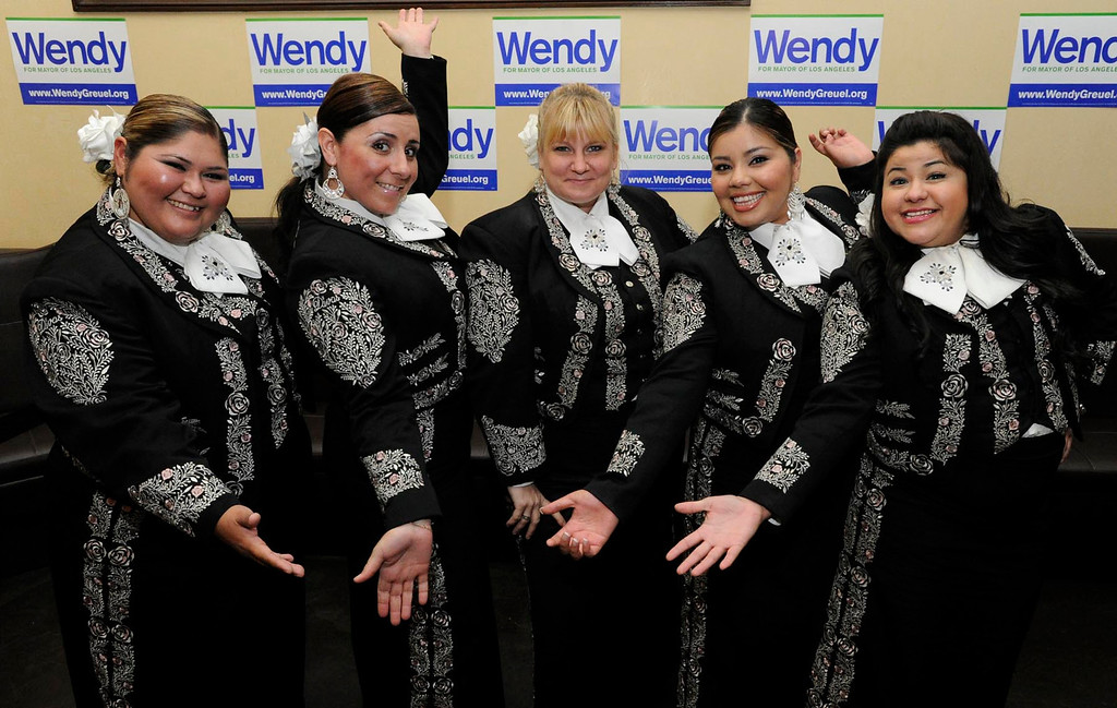 . Grammy Award winning Mariachi Divas were on hand to perform as Wendy Greuel held her election night party at the Los Angeles Brewing Company in downtown Los Angeles, CA 3/5/2013(John McCoy/Staff Photographer)