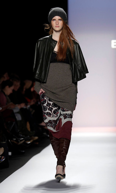 . The BCBG Max Azria Fall 2013 collection is modeled during Fashion Week in New York on Thursday, Feb. 7, 2013. (AP Photo/Richard Drew)