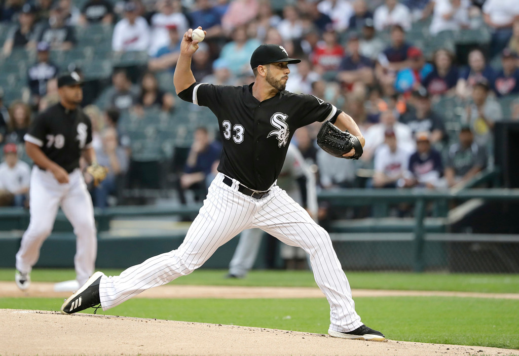 . Chicago White Sox starting pitcher James Shields delivers during the first inning of the team\'s baseball game against the Cleveland Indians on Tuesday, June 12, 2018, in Chicago. (AP Photo/Charles Rex Arbogast)