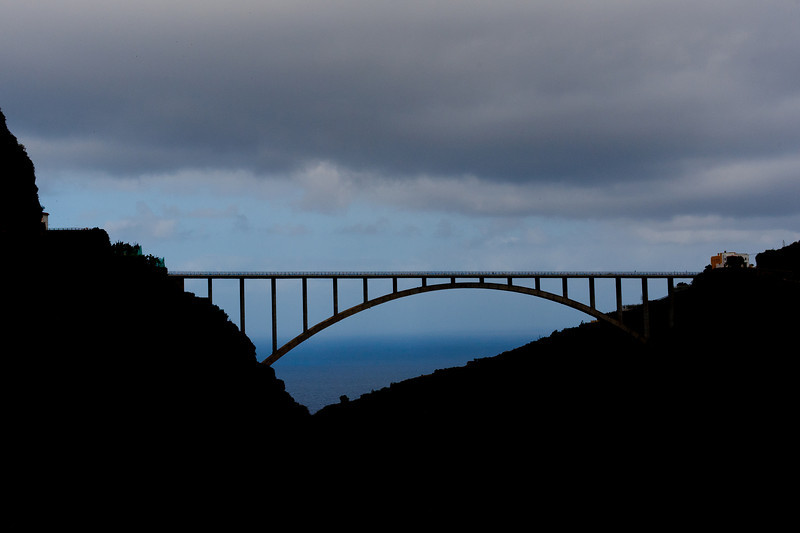 Silhouette of Los Sauces Bridge in Los Tilos, La Palma, Spain