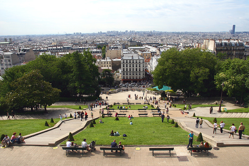The view over the city from the steps of the church