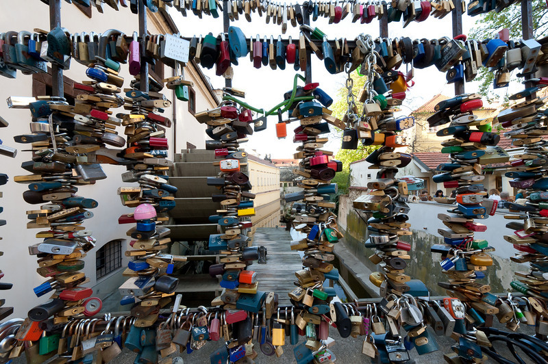 Love locks along canal in Charles Bridge, Prague - Czech Republic