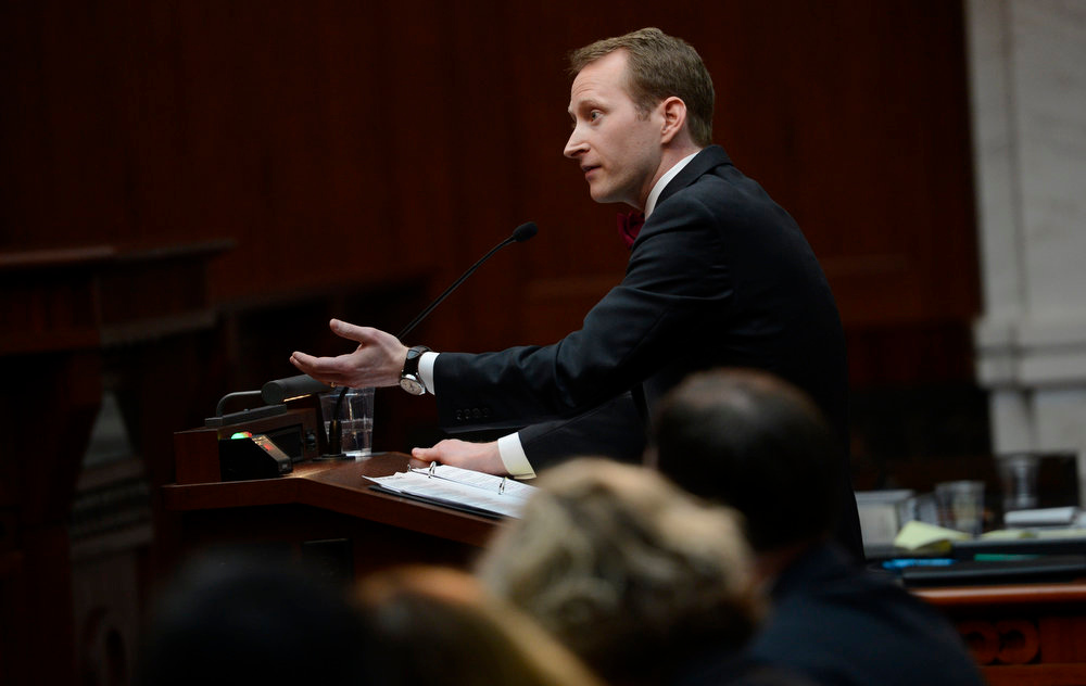 . Assistant attorney general Jonathan Fero addresses the Colorado Supreme Court, March, 07, 2013. The case, Lobato vs. State of Colorado, was filed in 2005 by a group of parents from around the state and school districts from the San Luis Valley. (Photo By RJ Sangosti/The Denver Post)