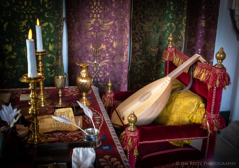 Scene in the Queen's Chamber of Stirling Castle looks like a Renaissance still-life painting.