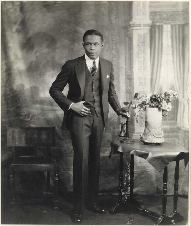 """James VanDerZee, """"Portrait with Telephone"""" (1929)"""