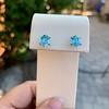 3.47ctw Blue Zircon Hexagon Stud Earrings 4