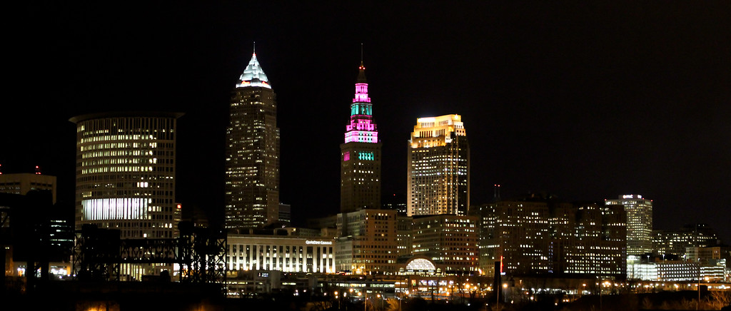 2/14/12  Happy Valentine's Day!  In honor of the day, the Terminal Tower in Cleveland has been lit up in the colors of Malley's Chocolate, a local staple when it comes to chocolate and candy. <br> Same view, but with the water reflection: http://www.gmurrayphotography.com/Photography/Cleveland-Ohio/RandomPhotos/15612808_fQx9Bf#!i=1711154203&k=RkgjcPc&lb=1&s=XL <br> http://www.malleys.com/