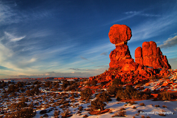 Sunset at Balancing Rock Arches NP
