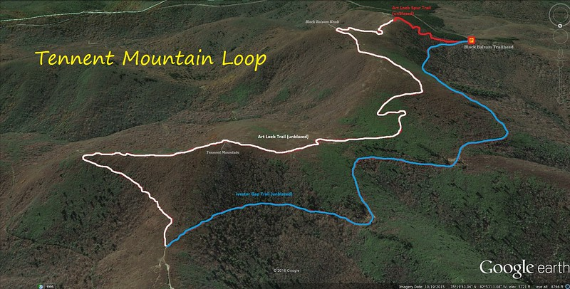 Black Balsam-Tennent Mountain Loop Route Map