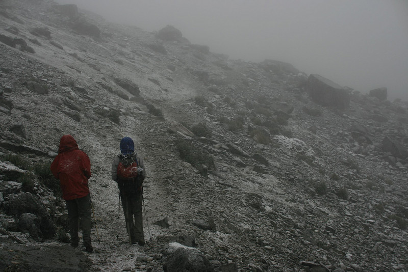 Atmospheric weather: Going up the high pass between Laguna Mitacocha and Laguna Carhuacocha