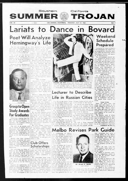 Summer Trojan, Vol. 11, No. 7, July 13, 1961