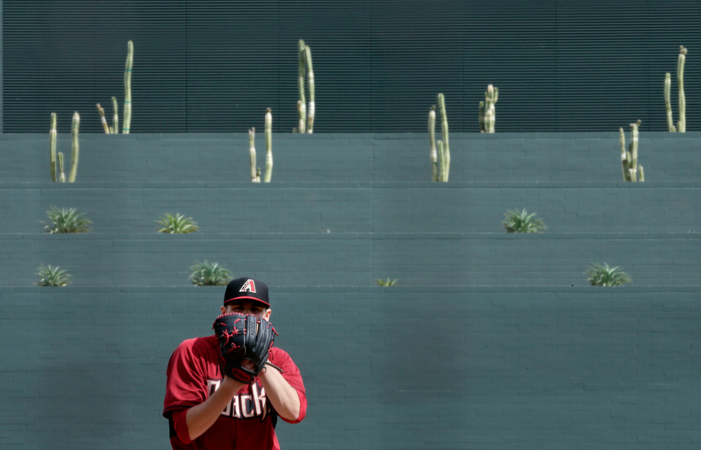 . Cacti and other succulents adorn the outfield wall as Arizona Diamondbacks starter Patrick Corbin looks in for the sign while pitching against the Colorado Rockies during the first inning of a spring training baseball game Friday, Feb. 28, 2014, in Scottsdale, Ariz. (AP Photo/Gregory Bull)