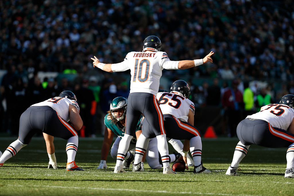 . Chicago Bears\' Mitchell Trubisky in action during the first half of an NFL football game against the Philadelphia Eagles, Sunday, Nov. 26, 2017, in Philadelphia. (AP Photo/Chris Szagola)