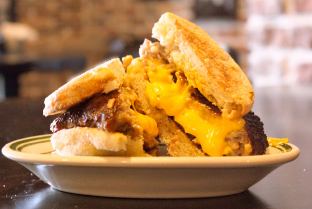 . Breakfast Juicy LuLu � An English muffin with two American cheese-stuffed sausage patties � served until11 a.m. At new food vendor LuLu\'s Public House, next to Schilling Amphitheater at West End Market. (Courtesy of Minnesota State Fair)