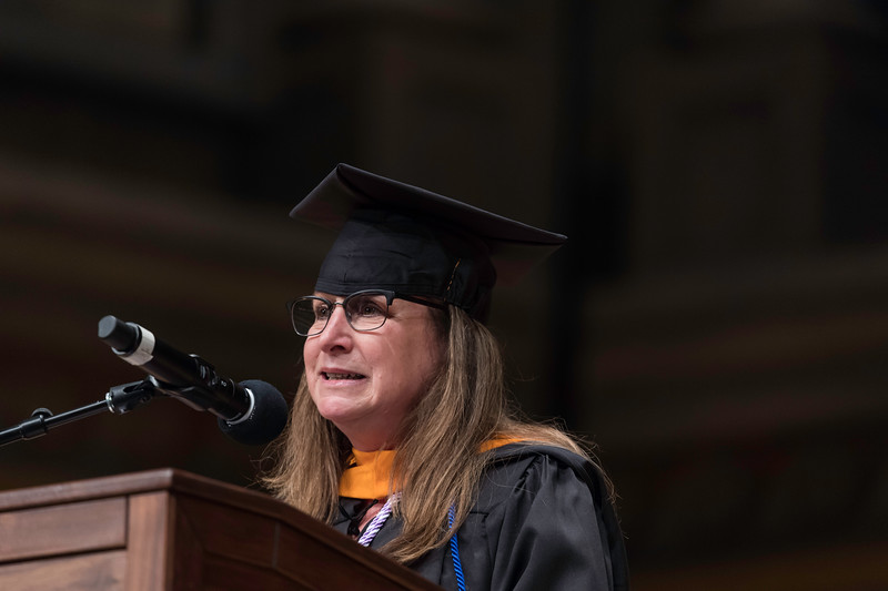 Celia Rose Freida delivers Undergraduate remarks for the class of 2019. // University of Rochester School of Nursing Commencement, Kodak Hall at Eastman Theatre May 17, 2019.  // photo by J. Adam Fenster / University of Rochester