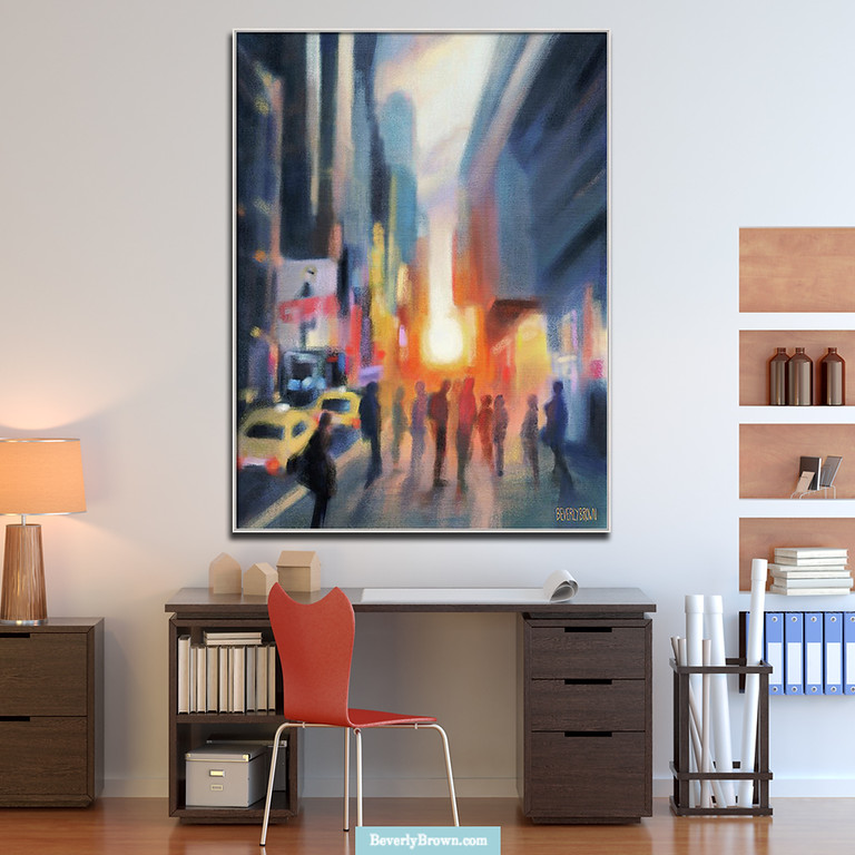 New York apartment home office with a large canvas print of Midtown Manhattan Sunset New York City art painting print by Beverly Brown - https://www.beverlybrown.com