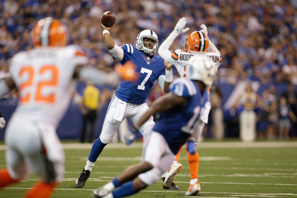 . Indianapolis Colts quarterback Jacoby Brissett (7) throws against the Cleveland Browns during the second half of an NFL football game in Indianapolis, Sunday, Sept. 24, 2017. (AP Photo/AJ Mast)