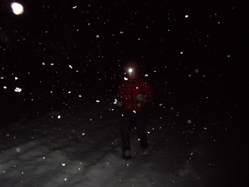 Walking over to Pat's house on New Year's Eve, in a full on storm.