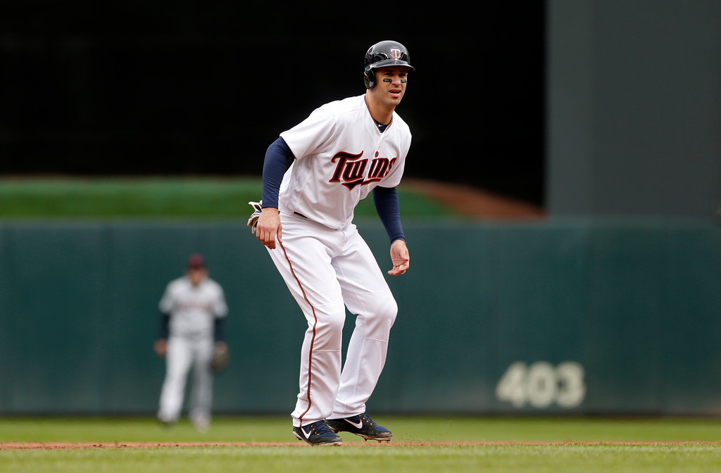 . Minnesota Twins\' Joe Mauer takes lead at second base against the Cleveland Indians in the fourth inning of a baseball game Thursday, April 20, 2017, in Minneapolis. (AP Photo/Jim Mone)