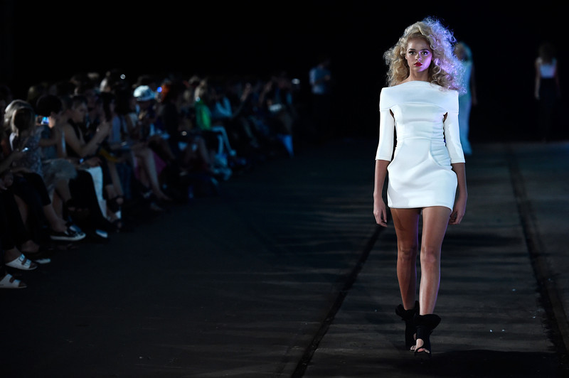 . A model walks the runway at the Zhivago show during Mercedes-Benz Fashion Week Australia 2014 at the Paint Shop Building, Everleigh Suburban Car Workshops, on April 10, 2014 in Sydney, Australia.  (Photo by Stefan Gosatti/Getty Images)