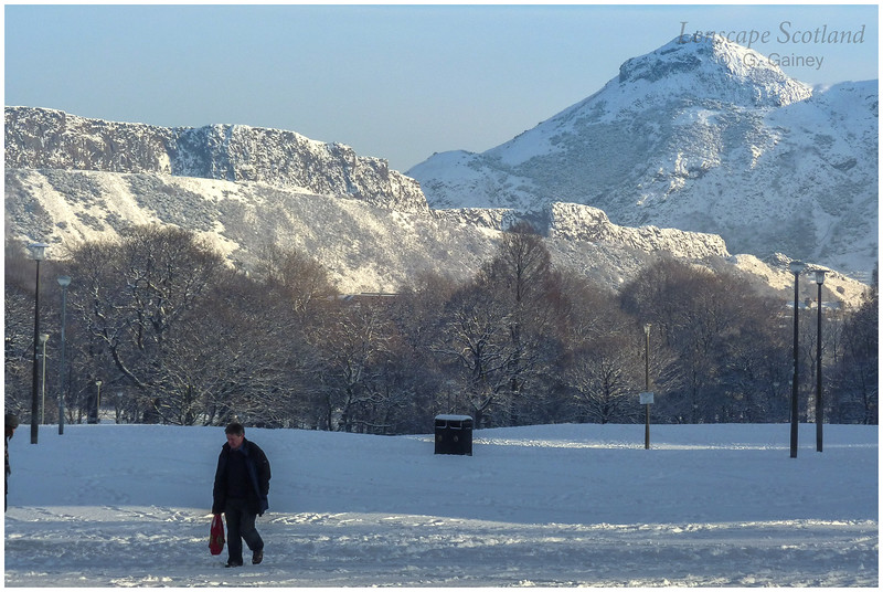 Salisbury Crags and Arthur's Seat from Bruntsfield Links