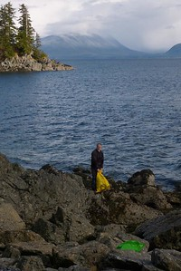 Collecting Debris Along a Rocky Shoreline - Vertical April 2013, Cynthia Meyer, Chichagof Island, Alaska
