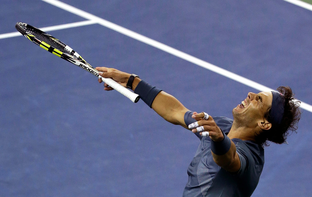 . Rafael Nadal, of Spain, reacts after defeating Novak Djokovic, of Serbia, during the men\'s singles final of the 2013 U.S. Open tennis tournament, Monday, Sept. 9, 2013, in New York. (AP Photo/Mike Groll)