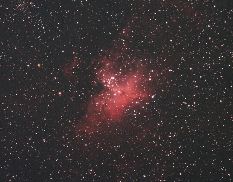 """Messier M16 - NGC6611 - Eagle Nebula and Cluster - 1/4/2011 (Processed cropped stack)  Also see late 2012 reprocessed version.   The Eagle Nebula is an emission nebula contained with a young (1-2 million years) open cluster of ~460 stars that is ~6,500 light-years away in the constellation Serpens. Its name derives from its shape that is thought to resemble an eagle. It is the subject of the famous """"Pillars of Creation"""" photograph by the Hubble Space Telescope that shows pillars of star-forming gas and dust within the nebula.  DeepSkyStacker 3.3.2 Stacked 80% of 34 Images ISO 800, 180 Sec, 32 DARK, 0 BIAS, 0 FLATS  Telescope - Apogee OrthoStar LOMO 80/480 with Hotech SCA Field Flattener, Hutech IDAS LPS-P2 filter, Canon 400D DSLR, Ambient not noted... 19-17C assumed. Mount - Skywatcher NEQ6 Pro. Guidescope - Orion ShortTube 80 with Star Shoot Auto Guider."""
