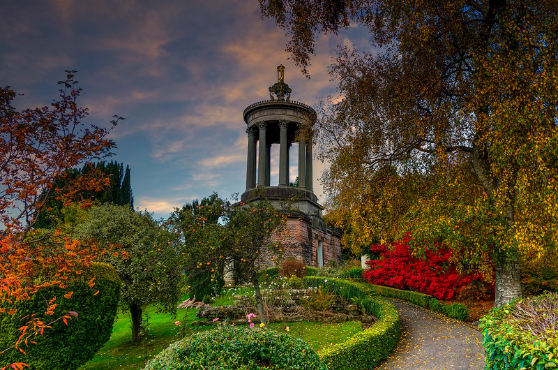 Ayrshire Gardens that Commemorate Burns in Autumn at sunset Alloway By Ayr Scotland.