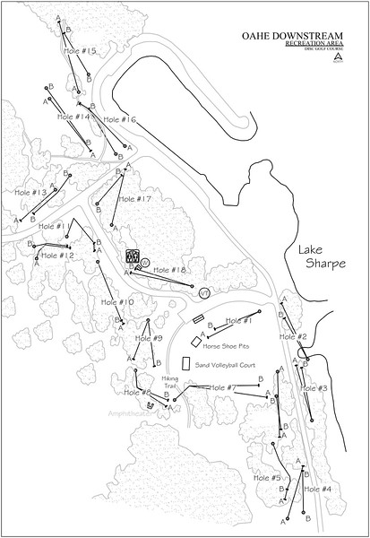 Oahe Downstream Recreation Area (Disk Golf Course Map)