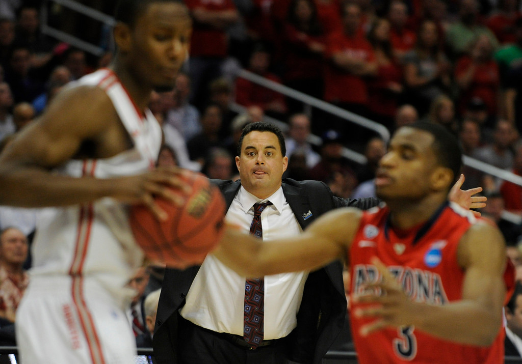. Arizona coach Sean Miller tries to get his players motivated in the final moments of the game. Ohio State defeated Arizona 73-70 at Staples Center for the West Regional of the NCAA Division I Men\'s Basketball Championships. Los Angeles,CA 3/28/2013(John McCoy/Staff Photographer