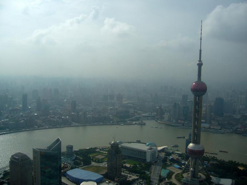 Huangpu River,, Bund from Jun Mao Tower, Hyatt, Pudong, Shanghai  Aug 2006