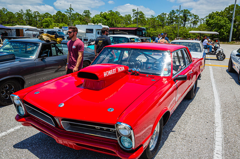 1965 GTO dragster owned by Charlie Cicino of Lauderfill sits on the grid at the Super Chevy Show at Palm Beach International Raceway in Jupiter, Florida on Saturday, May 25, 2019. JOSEPH FORZANO/palmbeachpost.com]