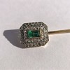 Art Deco Emerald and Diamond Pin, French 22
