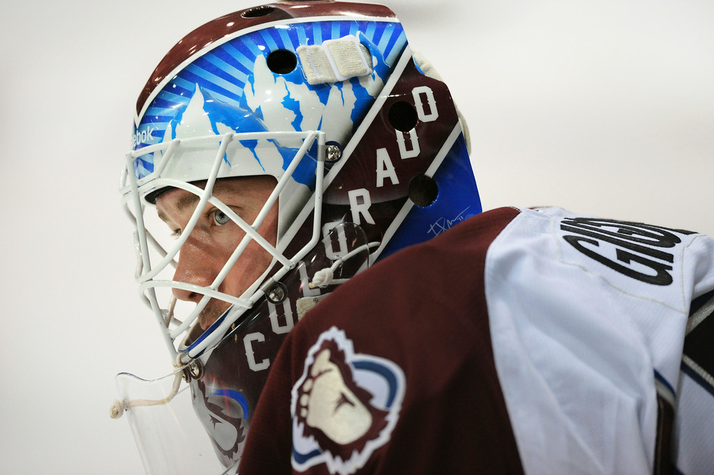 . J.S. Giguere started in net for the White team Tuesday night.  It was the Burgundy versus White in the Colorado Avalanche\'s annual scrimmage Tuesday night, September 20, 2011.   Karl Gehring/ The Denver Post