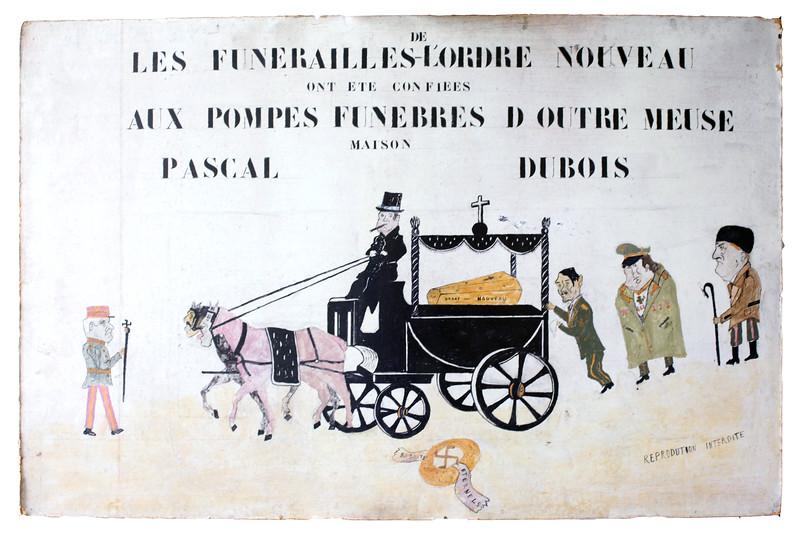"""Panneau peint représentant les """"Funérailles de l'Ordre Nouveau"""" dans un style naïf et caricatural, 1945."""