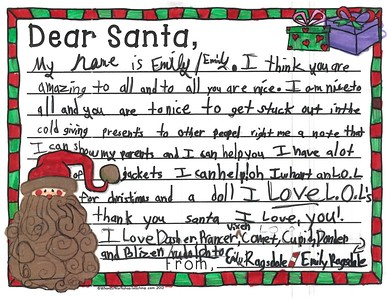 Letters to Santa, Mrs. Chapin's third grade, 12/7/2017