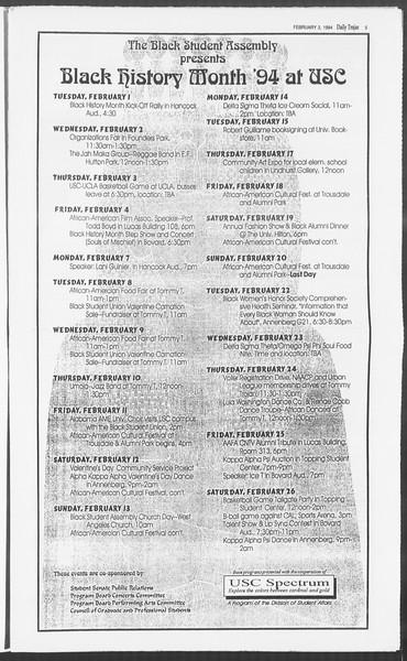 Daily Trojan, Vol. 122, No. 16, February 03, 1994