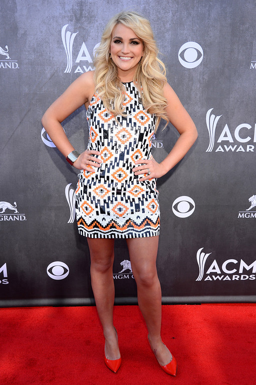 . Jamie Lynn Spears arrives at the 49th annual Academy of Country Music Awards at the MGM Grand Garden Arena on Sunday, April 6, 2014, in Las Vegas. (Photo by Al Powers/Powers Imagery/Invision/AP)