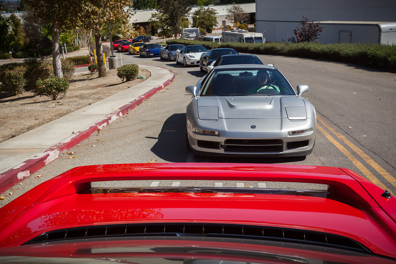 NSXs fill the driveway at Honda Performance Development, the surprise destination for our drive