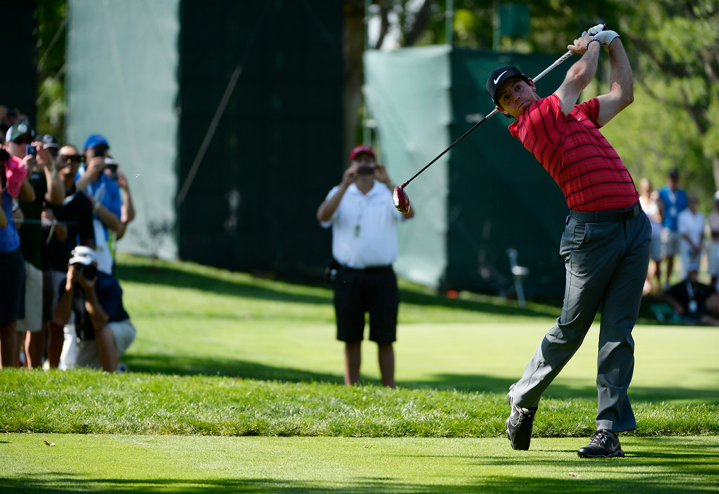 . CHERRY HILLS VILLAGE, CO. - SEPTEMBER 02:  Professional golfer, Rory McIIroy, hits his tee shot off the #2 tee box during a practice round at the FedExCup BMW Championship at the Cherry Hills Country Club Tuesday, September 02, 2014. (Photo By Andy Cross / The Denver Post)