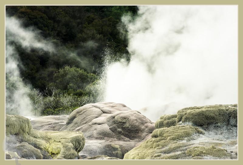 Pohutu Geyser in Te Puia - borders in Photoshop®