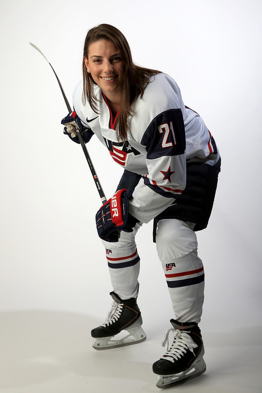 . Ice Hockey player Hilary Knight poses for a portrait during the USOC Media Summit ahead of the Sochi 2014 Winter Olympics on October 2, 2013 in Park City, Utah.  (Photo by Doug Pensinger/Getty Images)